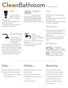 Bathroom Cleaning Check List and Cheat Sheet