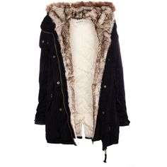 Pull & Bear Parka With Fur Hood featuring polyvore, fashion, clothing, outerwear, coats, jackets, tops, black, black parka, pull&bear, parka coat, fur hood parka and black coat