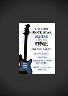 Rock Star 1st Birthday Invitation for Boys