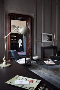 "Morning all, if you're on twitter you'll see that I started today (as I start ever Monday!) with a bit of a motivational quote. This one from Mr Mario Testino, no less: ""There is … Masculine Interior, Masculine Office, Interior Styling, Gray Interior, Classic Interior, Interior Exterior, Interior Architecture, Office Interiors, Dark Interiors"