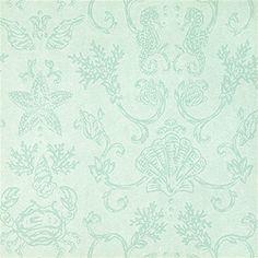 Thibaut Seaside - Swept Away - Wallpaper - Aqua