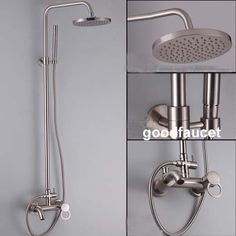 Brushed Nickel Bathroom 8 Round Rain Shower Faucet Set Bathtub