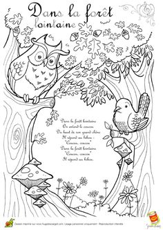 dans-la-foret-lointaine - colouring pages and links to French songs on you tube Animal Coloring Pages, Colouring Pages, Coloring Sheets, Adult Coloring, Teaching French, French Poems, Core French, French Classroom, Autumn
