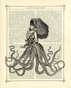 Octopus Lady with Umbrella - Vintage Victorian Book Page Art Print Steampunk. $9.90, via Etsy.