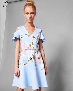 Harmony cold shoulder skater dress - Pale Blue | Dresses | Ted Baker UK