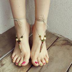 Barefoot Sandals Soleless Sandals Hippie Sandals by beekibeads