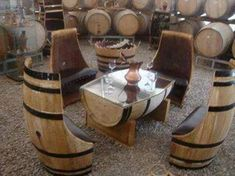 Barrel seats and table.for my wine cellar/tasting room Wine Barrel Table, Wine Barrel Furniture, Rustic Furniture, Diy Furniture, Wine Barrels, Wine Table, Wine Cellar, Garden Furniture, Dining Furniture