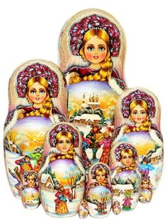 Countryside celebration and winter landscape is painted on a 10 piece Russian nesting doll set. Shop while supply lasts. Free shipping on US orders.