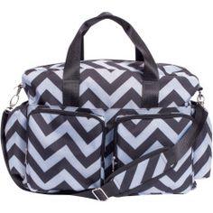 Black and Gray Chevron Deluxe Duffle Diaper Bag