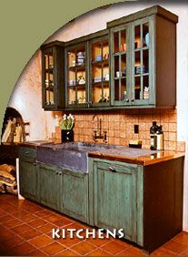 Southwestern kitchen with punched tin cabinet door. Love the ...