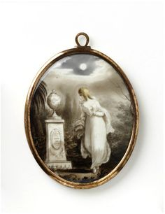 Locket  England, Great Britain1780-1820 (made)  Artist/Maker:Unknown  Memorial jewellery to honour the dead is one of the largest categories of 18th- century jewellery.From 1760 there was a vogue for memorial medallions or lockets. These became especially popular in Britain.  Neo-classical motifs of funerary urns, plinths and obelisks joined the more traditional cherubs, angels and weeping willows. Hair was preserved within the locket.