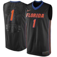 Support Gator basketball with the Black Nike Florida Gators #1 Replica Elite Basketball Jersey.