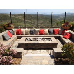 Backyard fun ~ Great Seating for backyard entertaining with firepit