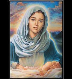 Virgem Maria (pintura com o rosto da atriz do filne Jesus de Nazaré) Jesus Mother, Blessed Mother Mary, Divine Mother, Blessed Virgin Mary, Pictures Of Christ, Jesus Christ Images, Hail Holy Queen, Religious Photos, Images Of Mary