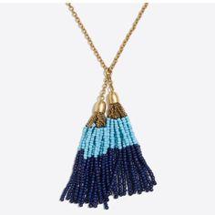 J.Crew Beaded Tassel Long Necklace. Nwt
