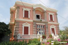 Neoclassical house in Mytilini town, Lesvos island, Northeast Aegean Greece Greek House, Old Mansions, Neoclassical, Greece Travel, Greek Islands, Art And Architecture, Beautiful Homes, Places To Go, Visit Greece