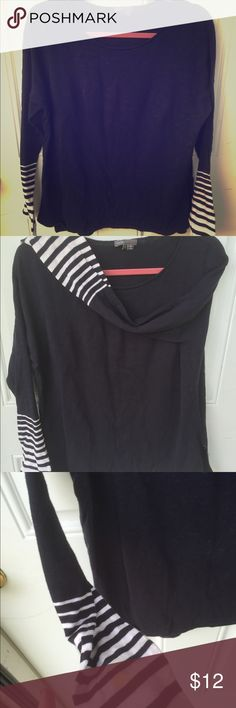 Vince Striped cuff sweater Navy sweater with white stripes on cuff of sleeves. There's a yellow stain on one of the sleeves, it may come out with bleach pen, I haven't tried to get it out. Everything else is perfect condition. Priced accordingly. Vince Sweaters Crew & Scoop Necks