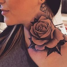Feed Your Ink Addiction With 50 Of The Most Beautiful Rose Tattoo Designs For Men And Women - Welcome OyunRet Rose Neck Tattoo, Rose Drawing Tattoo, Throat Tattoo, Back Tattoo, Neck Tattoos Women, Girl Neck Tattoos, Sleeve Tattoos, Hot Tattoos, Flower Tattoos