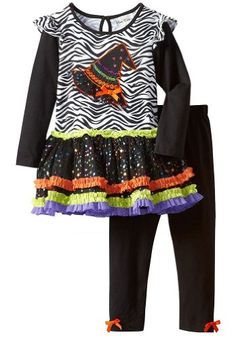 Zebra and bright colored top with a witch on it. This is so adorable! Fall Wedding Outfits, Fall Outfits For Work, Casual Fall Outfits, Casual Clothes, Casual Wear, Little Girl Skirts, Little Girl Outfits, Little Girl Fashion, Kids Fashion
