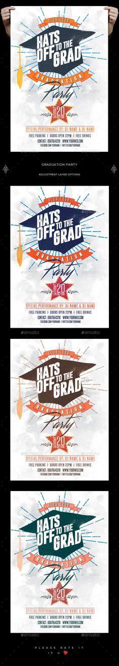 Graduation Party Flyer  — PSD Template #school #doodle • Download ➝ https://graphicriver.net/item/graduation-party-flyer/18077364?ref=pxcr