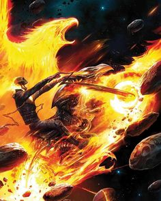 Spirit of Vengeance Phoenix variant cover - Ghost Rider by Francesco Mattina * Marvel 616, Marvel Comics Art, Marvel Comic Books, Marvel Characters, Marvel Heroes, Comic Books Art, Comic Art, Captain Marvel, Marvel Villains