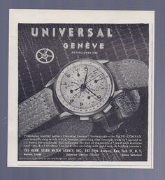 Vintage Ad Universal Geneve Watch June 1947. #universal #universalgeneve #swiss #datocompax #watch #watches #vintage #ads #stawc