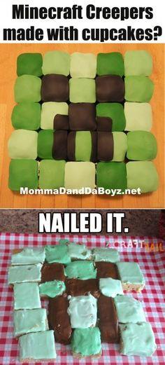 minecraft cupcake NAILED IT!!....um.. you forgot the fondant!!