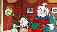 Scarf Lady from children's cartoon Sarah and Duck
