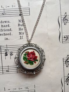 Vintage Upcycled Embroidered Cross Stitch Rose by robbiesgirlshop.