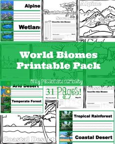 Only Passionate Curiosity has a FREE World Biomes Printable Pack. This pack includes read and write word wall cards, coloring for littl