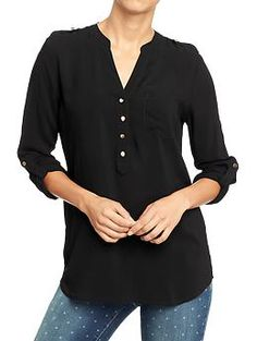 Womens Roll-Sleeve Crepe Blouses - tucked into jeans/pants, or out as a tunic over leggings.