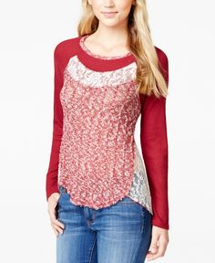 Almost Famous Juniors' Long-Sleeve Contrast Top