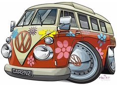 Synonomous with hippies and the sixties flower power revolution, the classic Volkswagon bus (or 'Splitty' after its split windscreen) is a sought after vehicle. Cartoon Pics, Volkswagen Bus, Vw T1, Vw Camper, Volkswagen Thing, Kombi Clipper, Arte Pink Floyd, Carros Retro, Vintage Ads