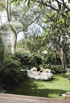 """A simple duplex renovation created a light-filled home Backyard: """"The outdoor area really does feel so far away from the city. We worked hard to make it private and secluded. It's our own little world,"""" says Louisa. Landscape Plans, Landscape Design, Garden Design, Backyard Ideas For Small Yards, Tropical Landscaping, Tropical Gardens, Landscaping Ideas, Deco Design, Back Gardens"""