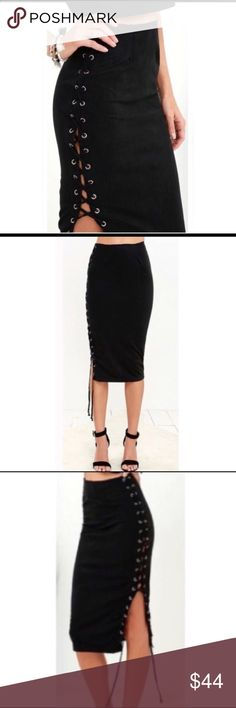 🆕Black Suede Side Tie Skirt🖤 Super Fab Black Suede Side Tie Skirt🖤  -Soft Suede Material  -Side Tie From Top to Bottom -Midi Length -Back Zipper Closure Sugar Punch Couture Skirts Midi