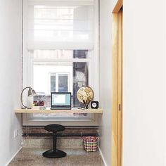 use a dormered window for a desk/table area  Small office space. Small rooms need a lot of light! More ideas @BrightNest Blog