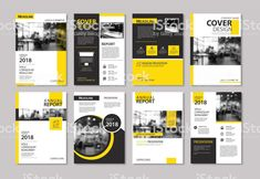 Vector Art : Set of yellow cover and layout brochure, flyer, poster, annual report, design templates Report Design Template, Annual Report Design, Booklet Design, Design Templates, One Pager Design, Brosure Design, Cover Design, Graphic Design, Flyer Poster