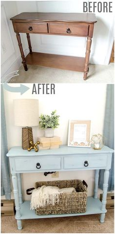 Beautiful beachy blue side table makeover with chalk paint - love this color americana decor chalky finish paint robin s egg blue chalk paint beachy blue chalk paint furniture makeover beach house furniture makeover americana chalky finish serene vintage Diy Furniture Renovation, Diy Furniture Easy, Refurbished Furniture, Repurposed Furniture, New Furniture, Furniture Projects, Furniture Stores, Luxury Furniture, Bedroom Furniture