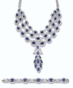 Sapphire And Diamond Floral Necklace And Bracelet By Harry Winston  Christie's