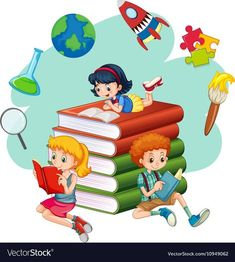 Three kids reading books vector image on VectorStock School Wall Decoration, School Decorations, Drawing For Kids, Art For Kids, School Border, Kids Reading Books, School Frame, School Murals, School Painting