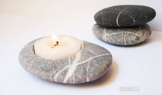 feng shui home decor - hand engraved beach stone candle holder - zen style. $20,00, via Etsy.