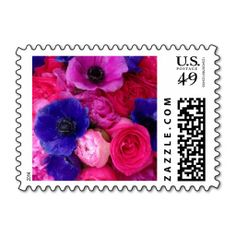 Gorgeous Floral Postage Stamps Featuring Vibrant Pink, Hot Pink, Fuchsia, Magenta, Purple, and Violet Peonies, Roses, Garden Roses, and French Anemones. Perfect for Wedding Invitations, Announcements, Save the Dates, RSVPs, Engagement Party Invitations, etc. Available in small, medium, and large sizes and horizontal or vertical layout. #peony #rose #anemone #peonies #roses #anemones #stamps #postage #mailing #invitations #shipping #USPS #USA #stamp #postal