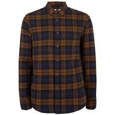 TOPMAN Brown and Navy Check Casual Shirt ($37) ❤ liked on Polyvore featuring men's fashion, men's clothing, men's shirts, men's casual shirts, brown, mens cotton shirts, mens navy blue shirt, mens checked shirts, mens brown shirt and mens collared shirts