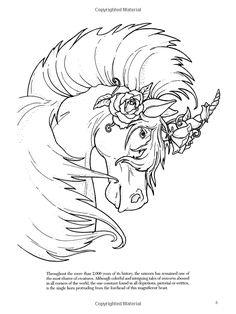 Unicorns Coloring Book Dover Books Christy Shaffer 0800759413195 Adult PagesColoring
