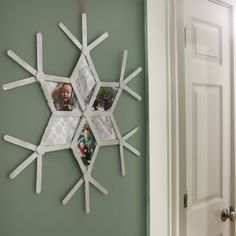 All it takes to transform simple wooden sticks (or popsicle sticks) into decorative snowflakes is some glue, ribbon and a ton of holiday spirit!