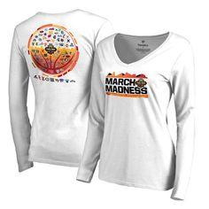 Women's Fanatics Branded White 2017 NCAA Men's Basketball Tournament March Madness 68 Team Ball Sierra Long Sleeve V-Neck T-Shirt