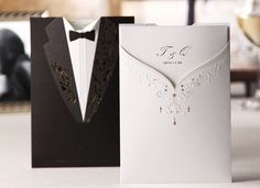 Personalized Black&White Wedding Invitations Laser Cut with Envelopes, Stickers Engagement Invitation Cards, Wedding Invitation Text, Black And White Wedding Invitations, Creative Wedding Invitations, Engagement Cards, Laser Cut Wedding Invitations, Wedding Engagement, Wedding Card Design, Wedding Cards