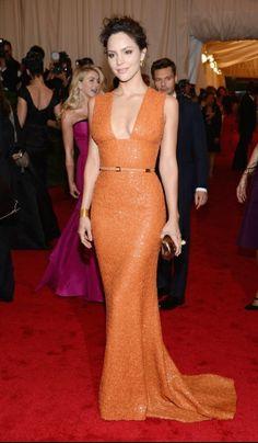 Orange you glad there's Elie Saab? Enamorada with Katherine McPhee's saucy sequin stunner from '12 Met Gala