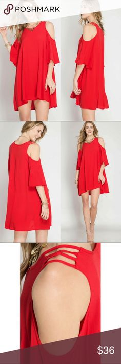 "Half Sleeve Cold Shoulder Tent Dress Half sleeve cold shoulder tent dress with spaghetti strap shoulder detail.  Day to night with simple yet chic!  Content: 70% Cotton, 30% Polyester.    Size: S-M-L.        Length: 34""/36""- 34 1/2""/36 1/2""/- 35""/37"".    Chest (armpit to armpit): 19""- 19 1/2""- 20"" Classic Paper Doll Dresses Mini"