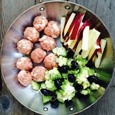 Turkey & bacon meatballs, sliced japanese yams, Romanesco with black olives and smoked salt. Drizzled olive oil over the whole thing. Bake at 375 for 1 hour (adjust for heat at end if too hot) #autoimmune #autoimmunepaleo #aipdiet #aiplifestyle #AIPonedishpaleo #autoimmuneprotocol